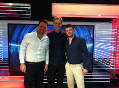 Tom and Dom with the BBC's Dan Walker, in the Match of the Day studio