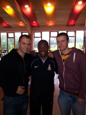 City fans Neil Liddle and Adam Pickles meet Kyel Reid