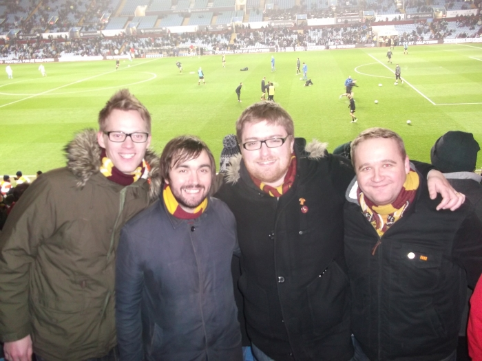 Gareth (second right at Villa Park in 2013)
