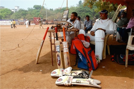 Waiting to bat at Shevaji Park, Mumbai ┬® Emma Levine 2011