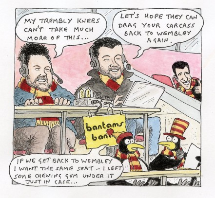 Front cover cartoon of the next City Gent, featuring Tom and Dom from Bantams Banter.