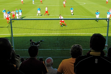 Tansey converts the penalty that puts Stevenage ahead.