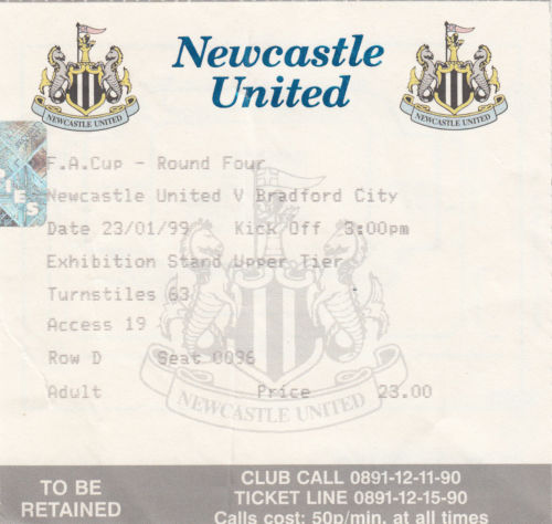 newcastle ticket stub